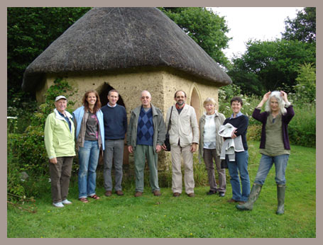 French visitors outside Jill's summerhouse